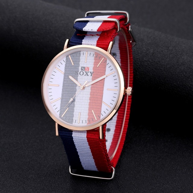 Fashion Transparent Dial Lovers' Watch Luxury Gold Watch Men Women Watches Nylon