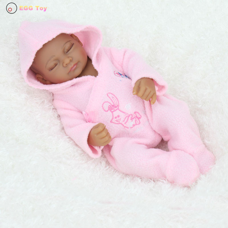 28cm Black Full body Silicone Reborn Baby Dolls Toys Sleeping Lifelike Baby Girls Doll Play House toy Gift for kids Doll Reborn health non toxic bebe reborn realista new born full body silicone reborn baby dolls girls lifelike doll play house toy gift doll