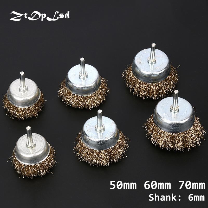 ZtDpLsd 1 Pcs Bowl Wire Brush 6mm Shank Diameter Flat Steel Wire Wheel Electric Drill Grinding Mill Polish Wheel Derusting