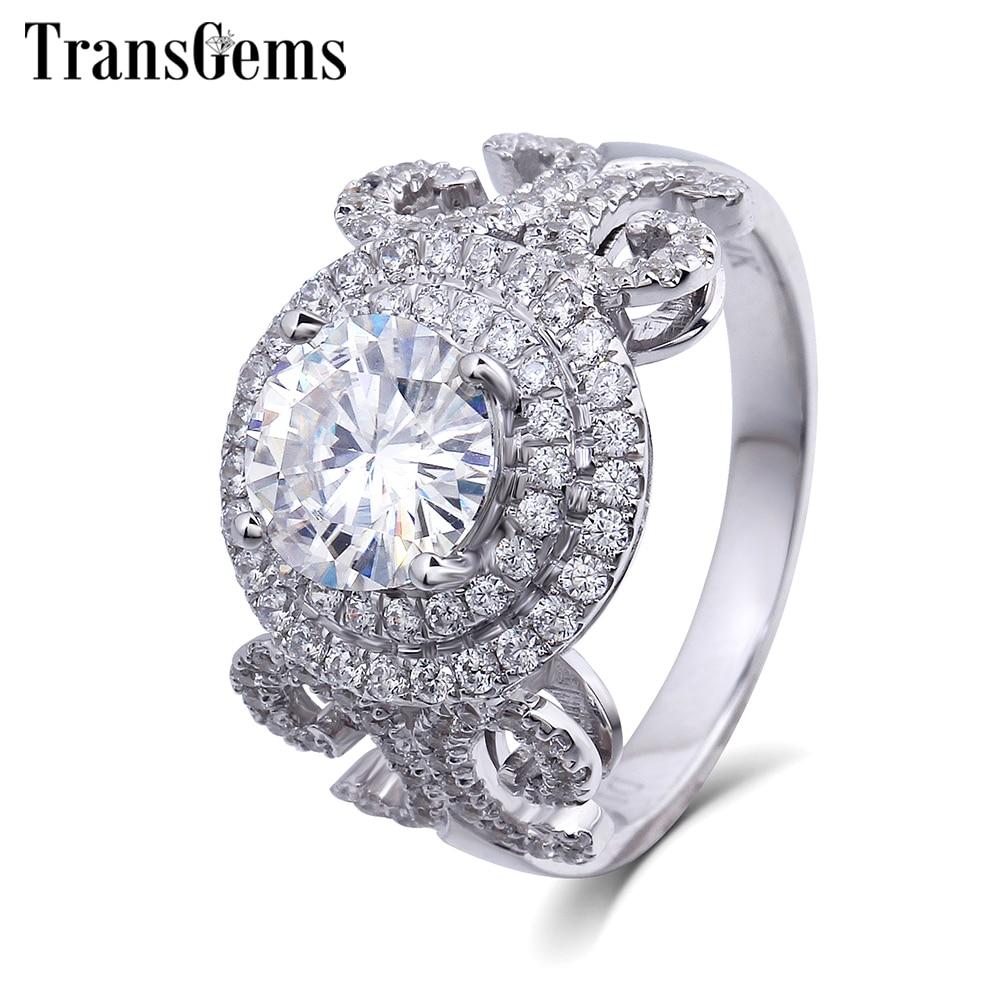 Bague de fiançailles en or massif de luxe transgemmes centre 1ct Halo Moissanite bague en diamant Geniune 14 K bague en or blanc pour femmes cadeau