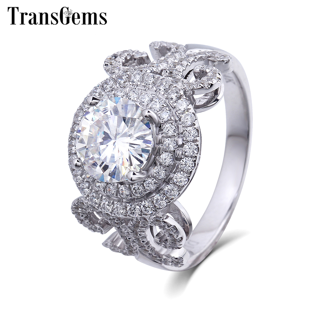 TransGems 1 Carat Lab Grown Moissanite Diamond Wedding Halo Ring lab Accents Solid 14K White Gold Women Band