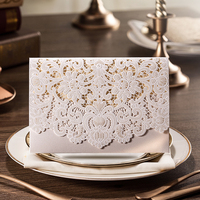 New Arrival Horizontal Laser Cut Wedding Invitation With White Hollow Flora Favors Customizable 100 Pcs Lot