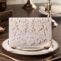 100 pcs nova chegada Horizontal Laser Cut do convite do casamento com branco oco Flora favores personalizável