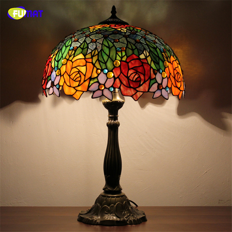 FUMAT European Brief Table Lamps Pastoral Stained Glass Home Decor Bedside Lamps Art Tiffany Office Living Room Table Lights