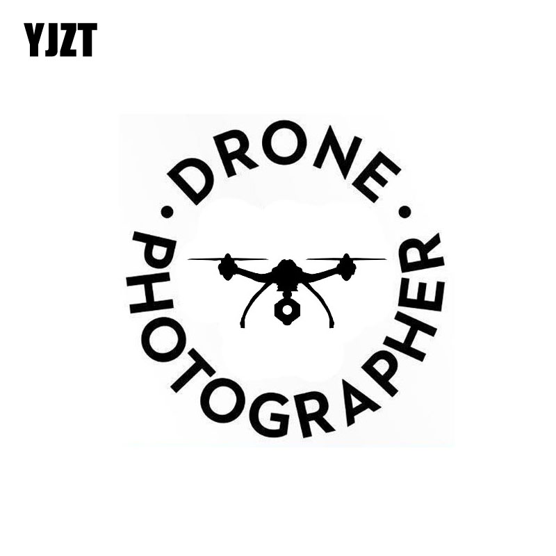 YJZT 13.2CM*13.2CM Drone Photographer Funny Vinyl Decal Car Sticker Quadcopter UAV Black/Silver C3-0174