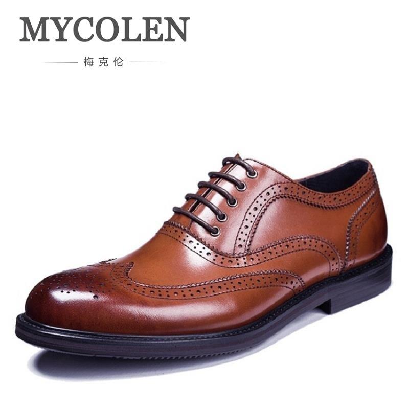 MYCOLEN Brogues Oxfords Genuine Leather Breathable Handmade Men Shoe British Fashion Luxury Cowhide Breathable Shoes british high fashion leather shoes breathable sneaker fashion boots men casual shoes handmade fashion
