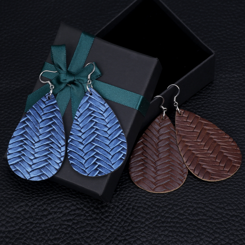 New Teardrop Leather Earrings Petal Drop Earrings Antique Lightweight S925 Carved Stainless Steel Earrings For Women Gifts 47