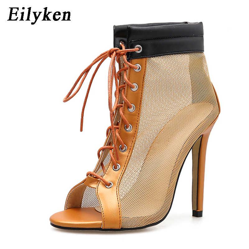 Eilyken moda kadın botları seksi Peep Toe Lace Up siyah turuncu örgü yüksek topuklu kadın yarım çizmeler sandalet boyutu 35- 40