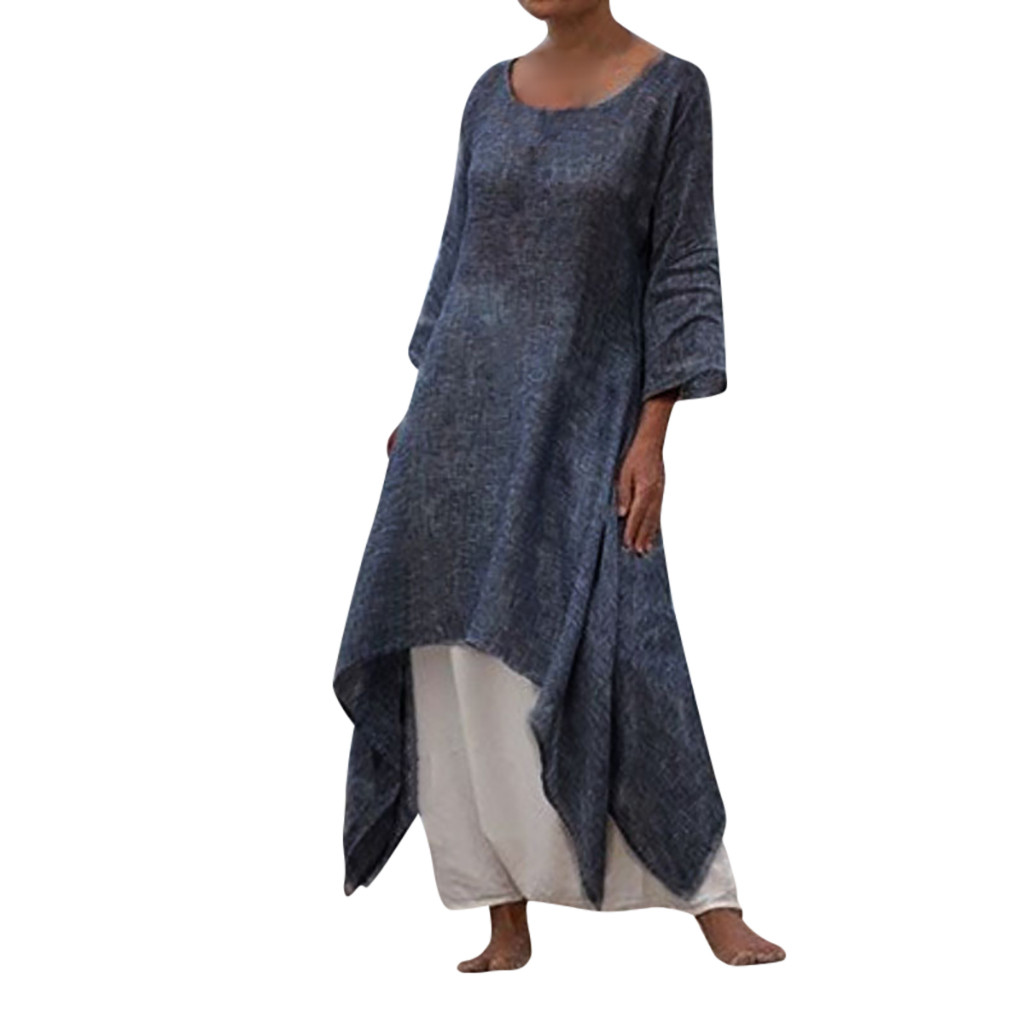 US $4.37 43% OFF|Bohemian Women Solid Dress Summer Dress Plus Size Three  Quarter Sleeve 0 Neck Linen Dress ankle Length Casual Dress-in Dresses from  ...