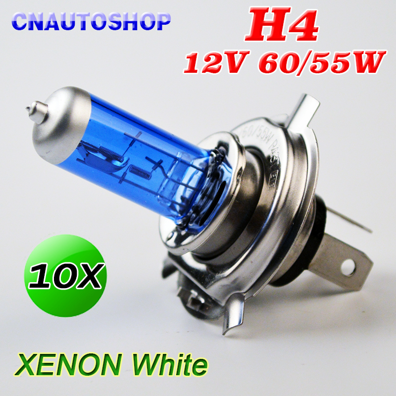 H4 Halogen Bulb 12V 60/55W Super White 5000K Car Headlight Lamp Xenon Dark Blue Glass 10 PCS 1pair 12v 55w h3 headlight lamp xenon dark blue glass replacement car halogen light bulb super brighter