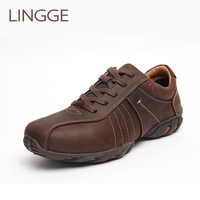 LINGGE Brand Business Style Men's Shoes Genuine Leather lace up Men Shoe Rubber Sole Brown Male Shoe Comfortable Casual Shoes