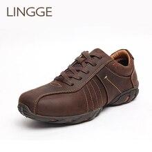 LINGGE แบรนด์ธุรกิจสไตล์ผู้ชายรองเท้าหนังแท้รองเท้าหนัง lace up รองเท้ายาง Sole สีน้ำตาลชายรองเท้าสบายสบายรองเท้าสบายๆ