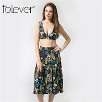 2017 Talever Fashion Summer Women Crop Top And Skirt Set Backless Pineapple Print Suits Sexy Casual