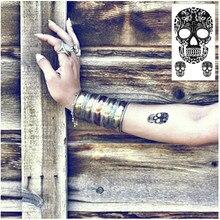 SHNAPIGN 25 Style Mini Temporary Tattoo Body Art, Three skull Designs, Flash Tattoo Sticker Keep 3-5 days Waterproof 10.5*6cm