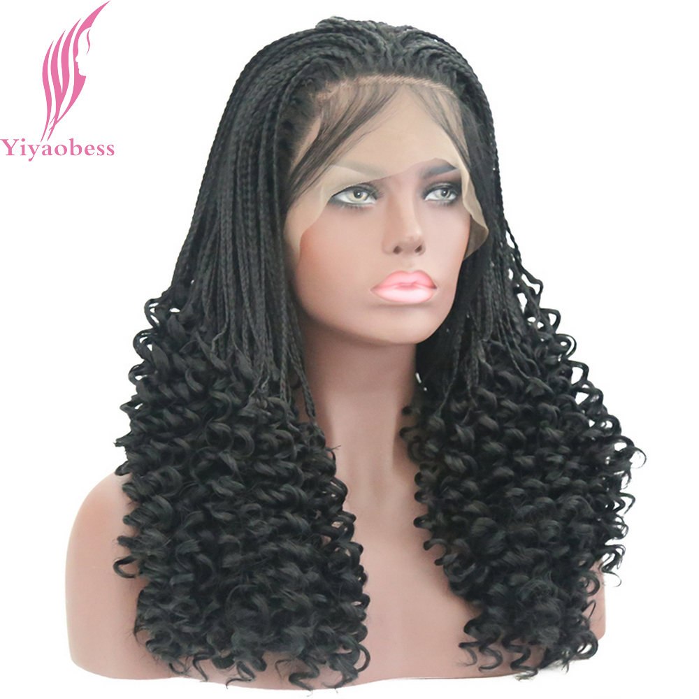 Yiyaobess 1b Color Synthetic Micro Braided Lace Front Wigs For Women Heat Resistant Fiber Black Hair