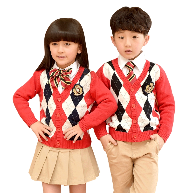 British School Children Uniforms Spring Autumn Shirt Skirt Pants Uniforms Sweater Cardigan School Uniforms Suits 2-10T цена