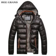 Hee Grand/Новое поступление 2017 года Для мужчин Зимние Модные Повседневные куртки с капюшоном человек пальто куртки ветрозащитный Высокое качество, Большие размеры MWM516