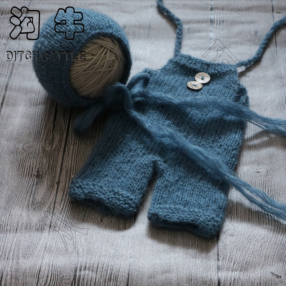 Newborn Mohair set  Knit Baby Bonnet & pants   The newborn photography props   photography background newborn photography props crochet costume set baby boy knit bib pants studio photography clothing mohair baby gift photo shoot