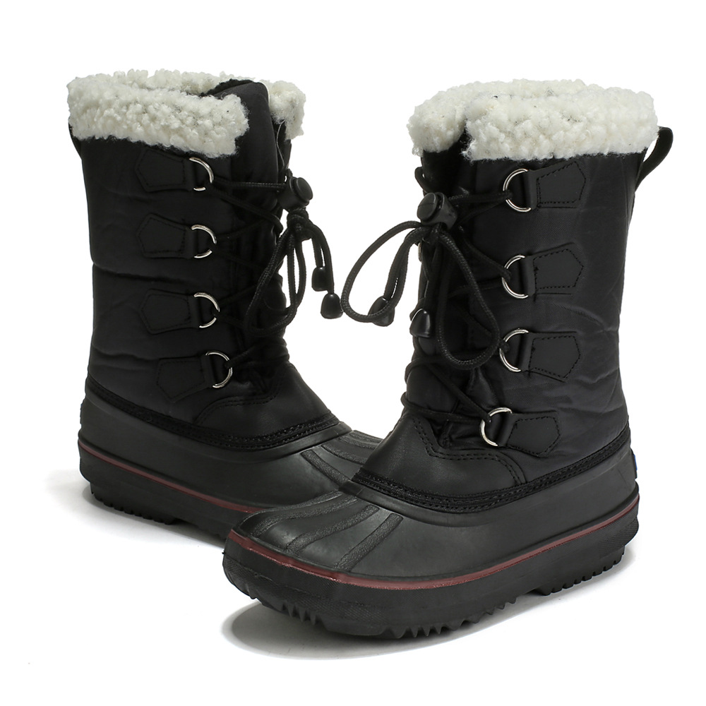 Kids Boys Girls Winter Warm Lace Up Leather Ankle Boots Trainers Snow Shoes Size
