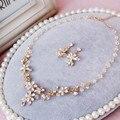 Ручной Золотой Цветок Кристалл Свадебные Комплекты Ювелирных Изделий Моды Ожерелье Серьги Аксессуары Женщины Пром Ювелирные Изделия