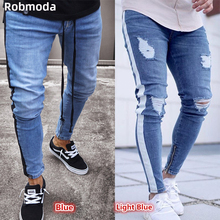 2019 new Men hip hop denim hole nostalgic jeans light blue casual fashion straight slim zipper male European and American jeans european and american style slim straight jeans new brand colorful cloth stitching hole water wash denim trousers size 29 38