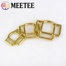 Meetee 2pcs Pure Copper Bags Buckle Three-way Brass Leather Belt Strap Horse Accessories Luggage Hardware