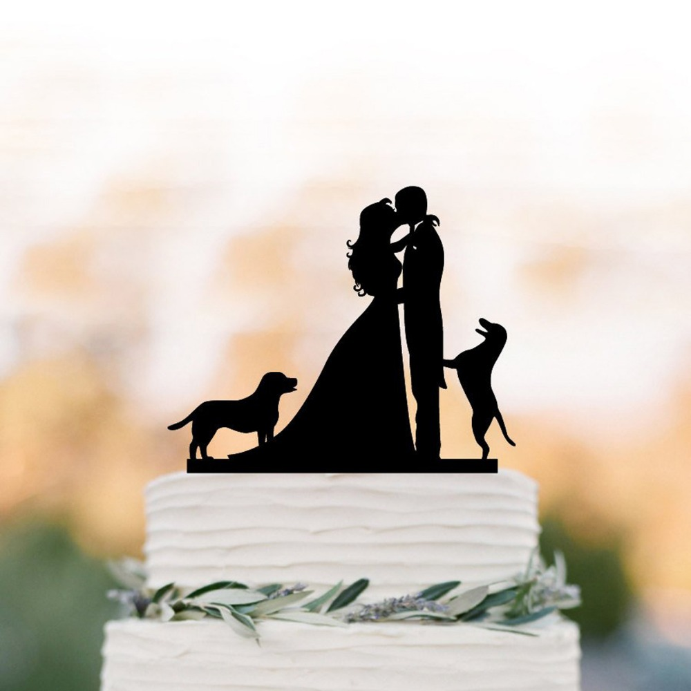 Wedding Cake topper, Bride and Groom with two dogs silhouette cake topper, unique wedding cake top decorationWedding Cake topper, Bride and Groom with two dogs silhouette cake topper, unique wedding cake top decoration