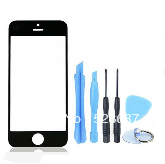 100% original Black Outer LCD Screen Lens Top Glass Replacement for iphone5 with Open tools r+Free Shipping