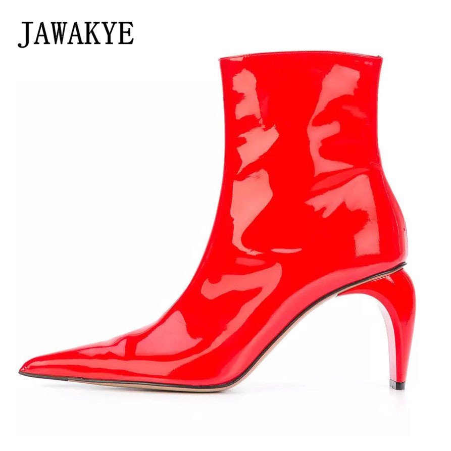 Pointy toe Sexy Luxury Red Women boots Genuine leather Strange Curved heel Wedding High Heels Shoes Woman New Ankle Boots Women цена