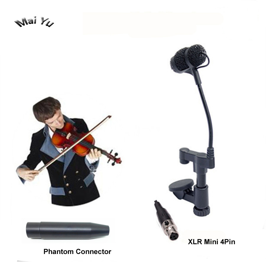 Professional Lapela Instrument Violin Microphone Mandolin Viola Microfone for Shure Wireless Transmitter XLR Mini 4Pin Phantom professional microfone lapela mini xlr 3 pin ta3f tie clip on lavalier microphone lapel mic for pc wireless bodypack transmitter