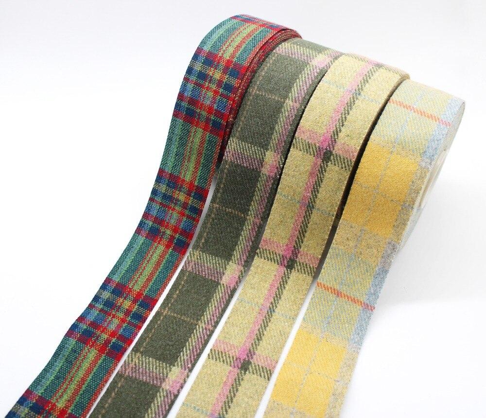 "5 yards 3//8/"" BROWN WHITE Polyester Scottish Checkered Check Gingham"