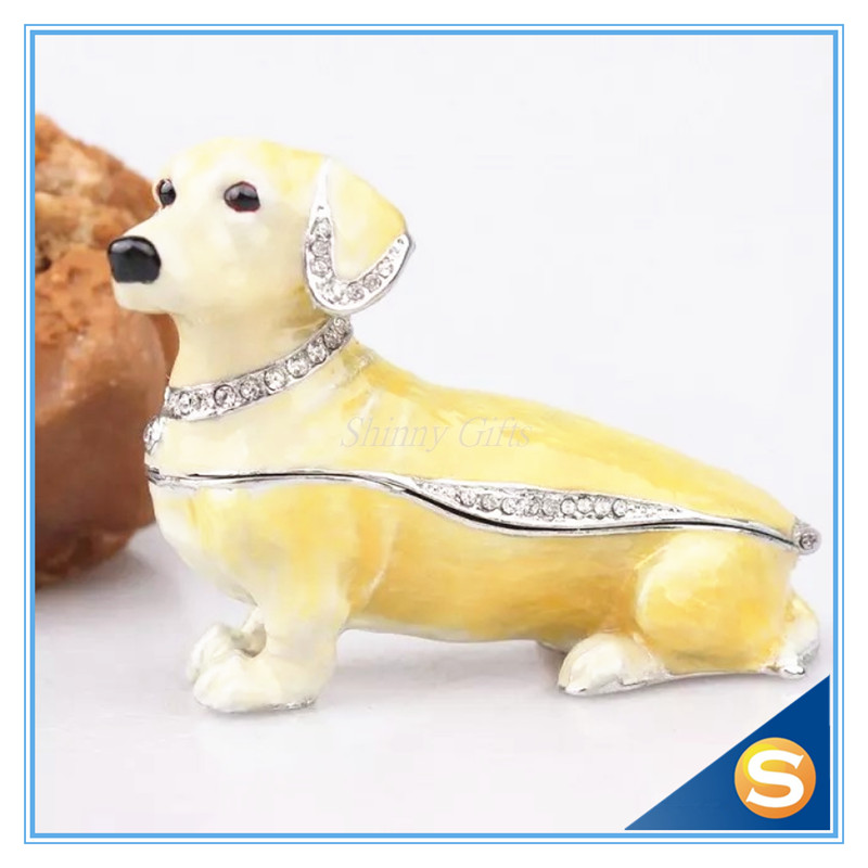 Dachshund Dog Bejeweled Trinket Box Dachshund Dog Figurine Czech Cyrstal Jeweled Hinged Trinket Box