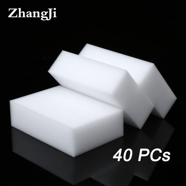 ZhangJi 40 sztuk 100*60*20mm biały gąbka z melaminy magiczna gąbka gumka do kuchni biuro łazienka czyste akcesoria