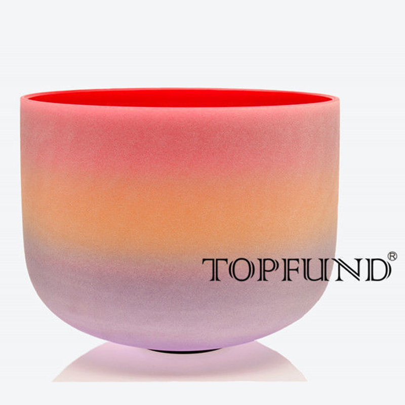 TOPFUND C корневой чакры Кварцевый Поющая чаша Радуга Цветной кварц матовый 10 , уплотнительное кольцо и молоток, для медитации