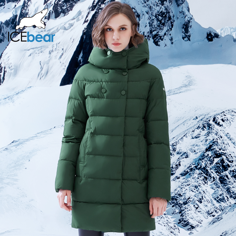 ICEbear 2018 new single breasted women's mid-length cotton   parka   Winter Jacket Women Coats Thick Cotton Padded B16G6128D