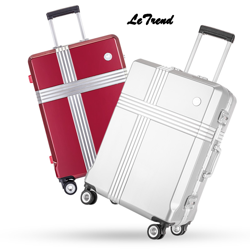 Letrend Aluminium Frame Rolling Luggage Spinner Suitcases Wheel Trolley Women Travel Bag 21 inch Student password Hardside Trunk 14 20 24 inch women vintage rolling luggage sets pu travel suitcases universal wheel spinner trolley bags suitcase for girls bag