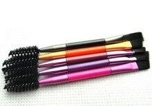 massage 1pcs Double head e yebrow Brush+e Comb beauty cosmetic brush brushes for women 8cm random color