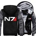 Новая Зимняя Куртка Пальто Аниме Mass effect N7 Толстовки Сгущает мужчины Кофты