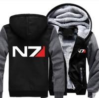 New Winter Jacket Coat Anime Mass Effect Hoodies N7 Thicken Men Sweatshirts