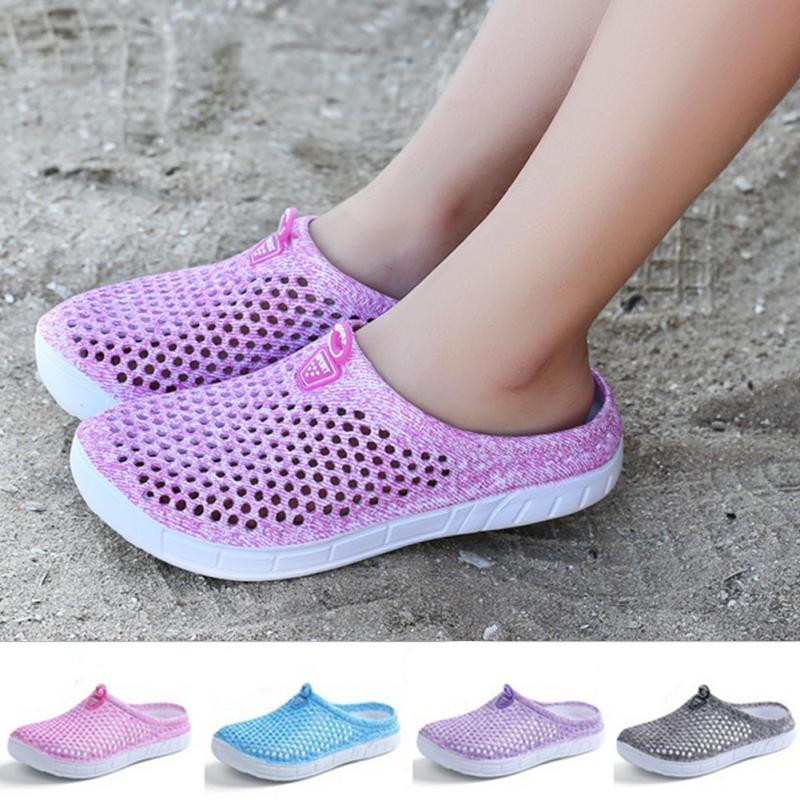 Summer Cool Hollow Out Mesh Slippers Women Breathable Anti-slip Mules Flat Slippers Ladies Casual Beach Slides Zapatos Mujer цена