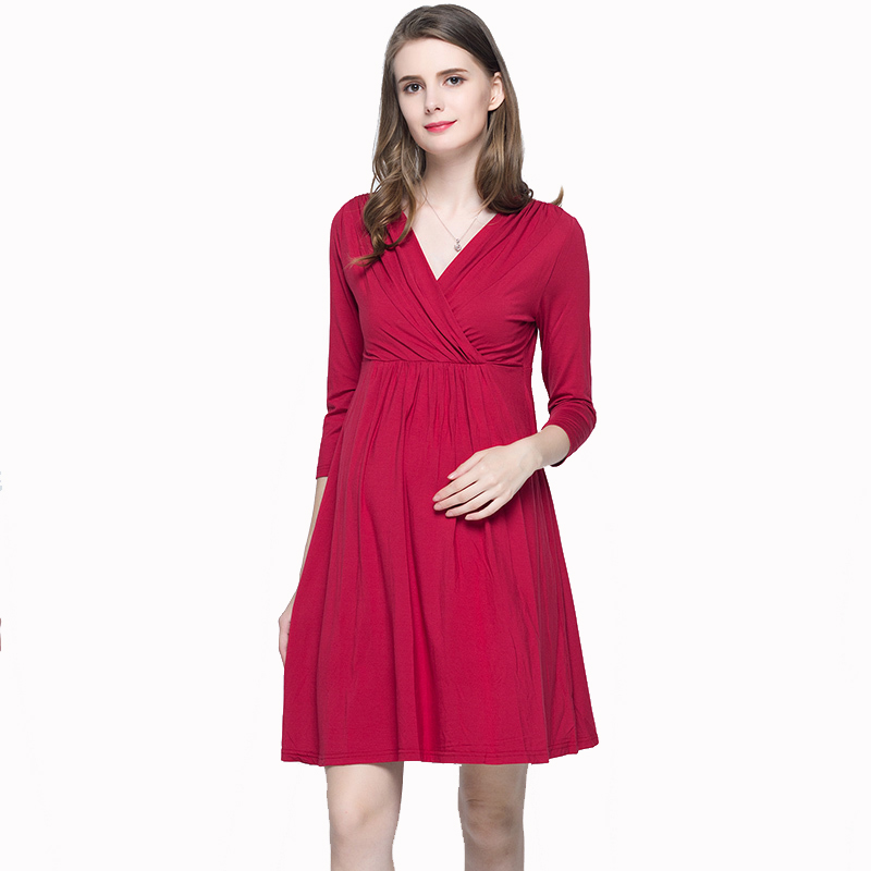 Spring Summer Clothes for Pregnant Women 2018 New 3/4 Sleeved Knee Length V-neck Fashion Mommy Nursing Maternity Dress Size 3XL