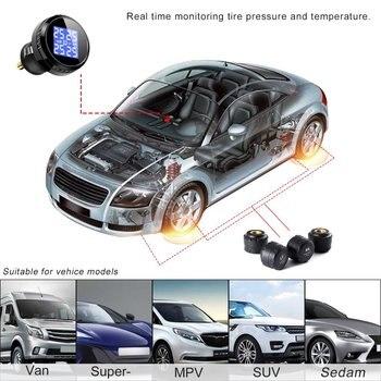 Sistema de Monitoreo de presión de neumáticos inalámbrico con luz de fondo azul LCD Plug & Play con Sensor externo de cargador de coche