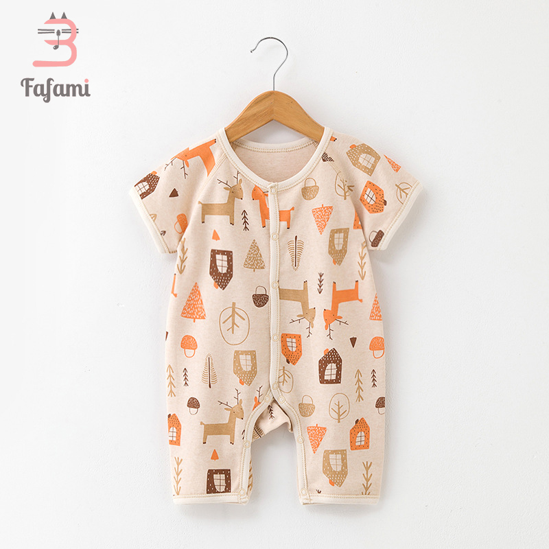 Cartoon baby clothes baby rompers Organi