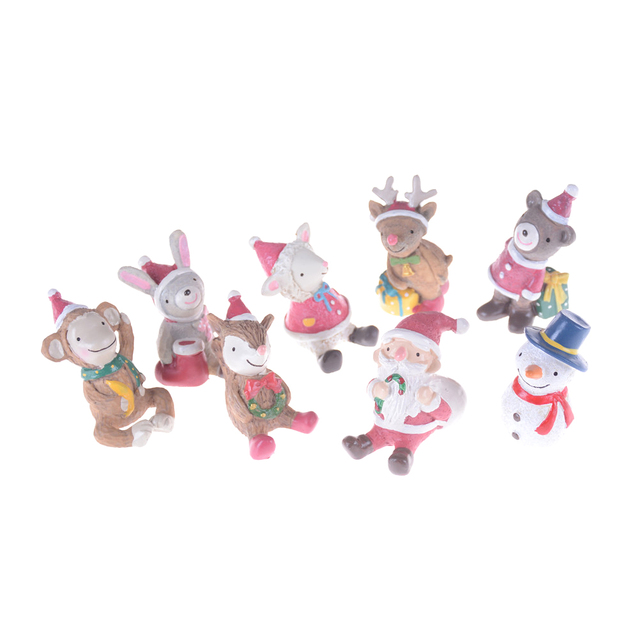 Fairy Garden Statue Resin Craft Toy Ornaments Christmas Tree Animal Snowman  Deer Sant Claus Miniature Figurine
