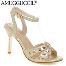 2017 New Plus Big Size 33-43 Gold Silver Buckle Rivets Fashion Sexy High Heel Summer Girl Female Lady Women Sandals L748