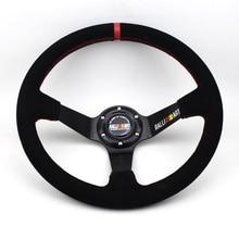 Глубокий гоночный руль, замша, 14 дюймов, 350 мм, универсальный автомобильный ралли, дрифт, Ralliart, спортивный руль