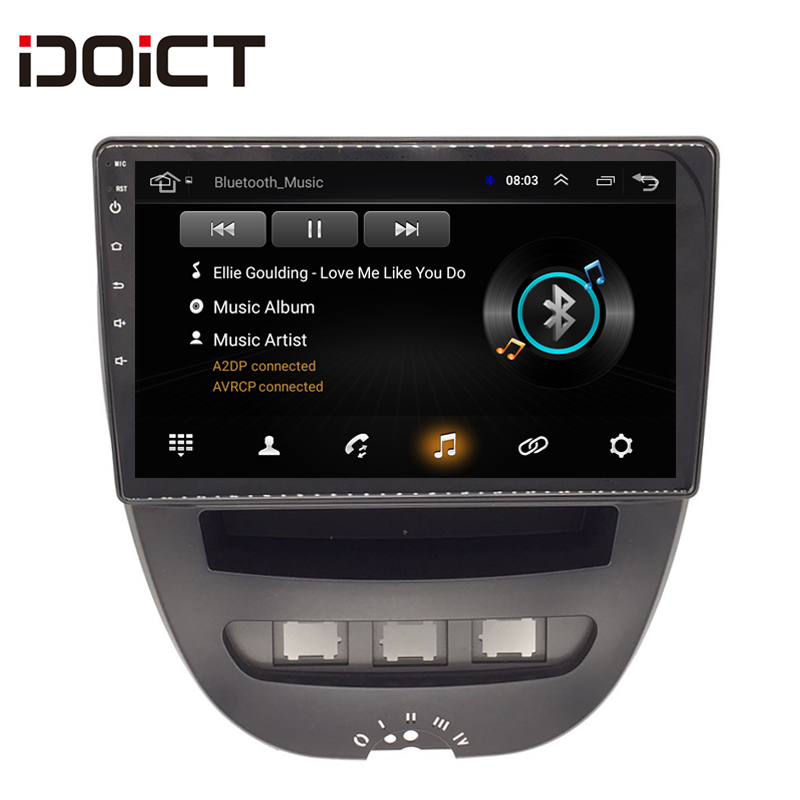 IDOICT Android 8.1 Car DVD Player GPS Navigation Multimedia For Peugeot 107 For Toyota Aygo For Citroen C1 Radio 2005-2014