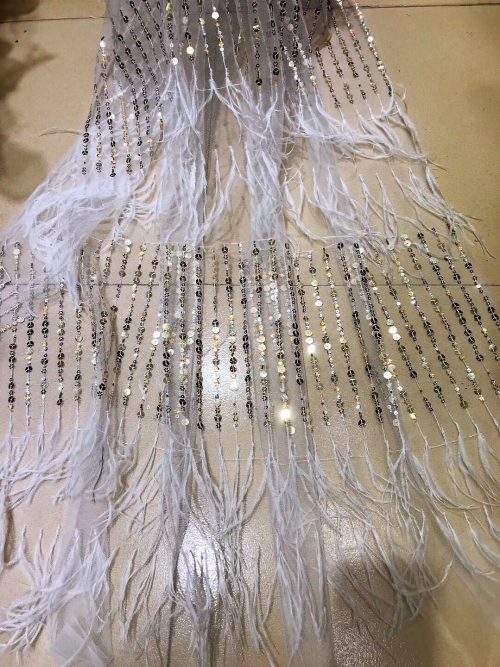French 3d feather lace fabric handmade lace Sequins African tulle mesh lace fabric wedding dress lace 5yard
