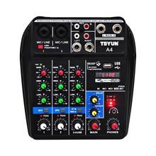 A4 קול ערבוב קונסולת Bluetooth USB מחשב שיא השמעה 48V פנטום כוח עיכוב Repaeat אפקט 4 ערוצים USB אודיו מיקסר
