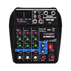 A4 Suara Pencampuran Konsol Bluetooth USB Merekam Komputer Pemutaran 48V Phantom Power Penundaan Repaeat Efek 4 Saluran USB Audio mixer